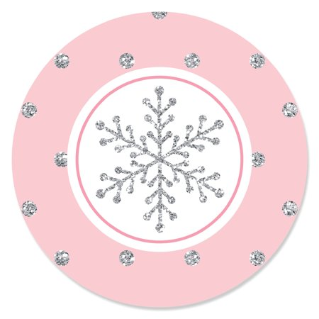 Pink Winter Wonderland - Holiday Snowflake Birthday Party or Baby Shower Circle Sticker Labels - 24 Count - Winter Wonderland Props