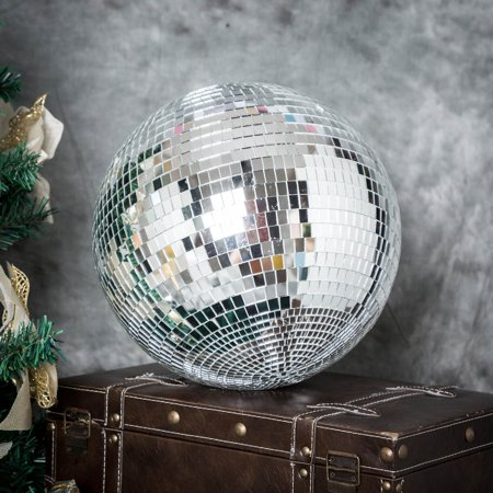 BalsaCircle 24-Inch Large Silver Mirror Disco Balls Hanging Glass Party Christmas Ornaments Wedding Home Decorations