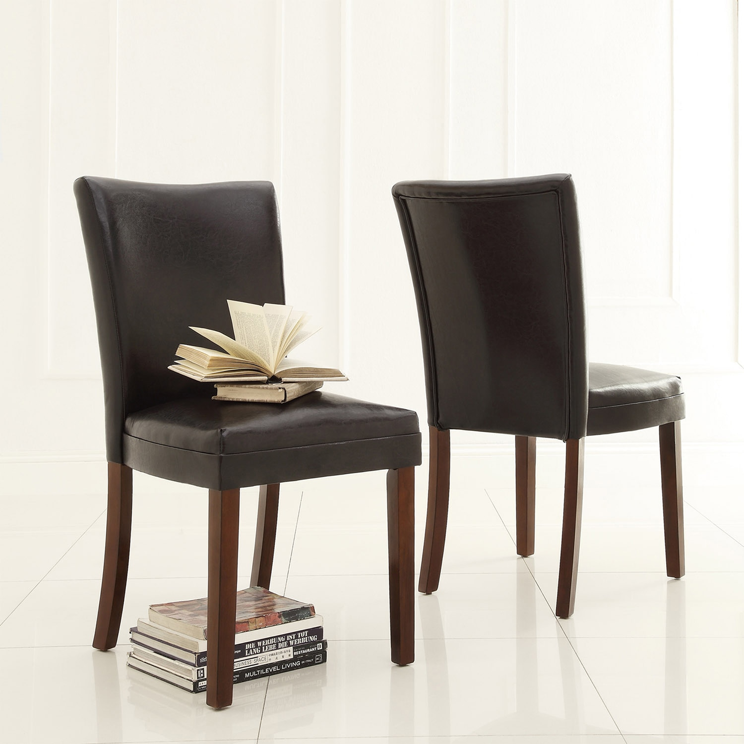 Tribecca Home  Jeremy Dark Brown Faux Leatr Dining Chairs (Set of 2)