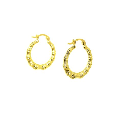 81731a796 SBC - 14K Yellow Gold Bamboo Hoop Earrings - Walmart.com