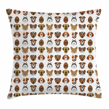 Dogs Throw Pillow Cushion Cover, Portraits of Dogs with Comical Caricature Design Colorful Funny Canine Faces Husky, Decorative Square Accent Pillow Case, 20 X 20 Inches, Multicolor, by Ambesonne