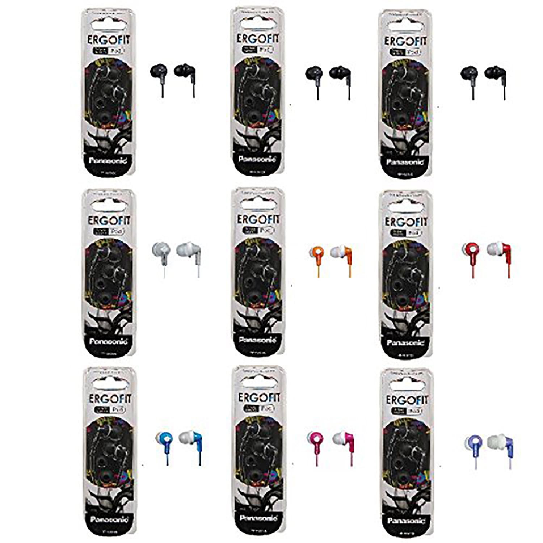 Panasonic ErgoFit In-Ear Earbud Headphones - 9 Pack (Assorted Colors)