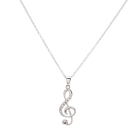 Cubic Zirconia Music Note Pendant Necklace in Sterling Silver