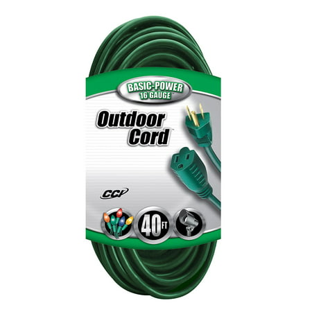 Coleman Cable 16/3 Vinyl Landscape Outdoor Extension Cord, Green, 40-Foot