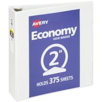 """Avery Economy View Binder, 2"""" Round Rings, 375-Sheet Capacity, White (5731)"""