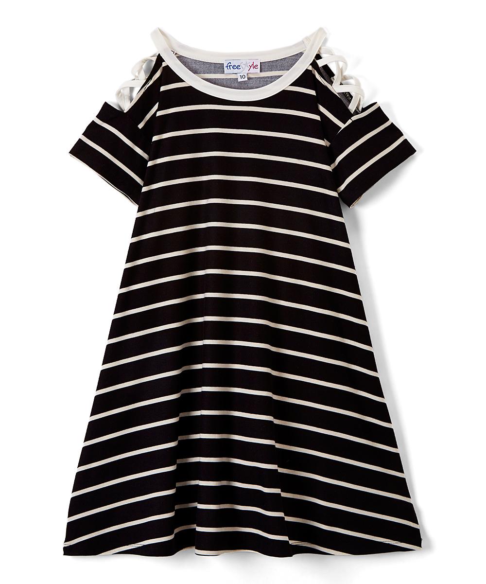 Lace Up Shoulder Striped Knit Dress (Little Girls & Big Girls)