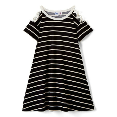 Lace Up Shoulder Striped Knit Dress (Little Girls & Big - Little Dress Up Shop Coupon Code