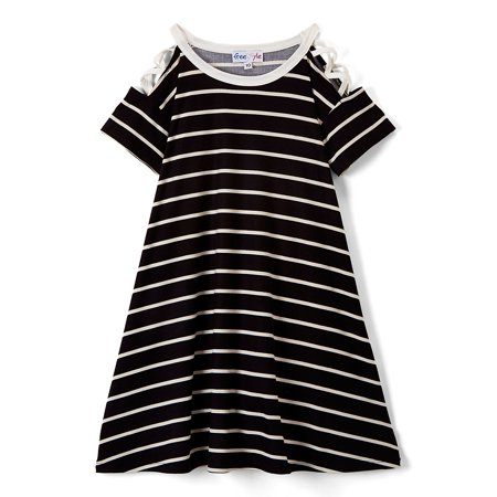 Lace Up Shoulder Striped Knit Dress (Little Girls & Big Girls)