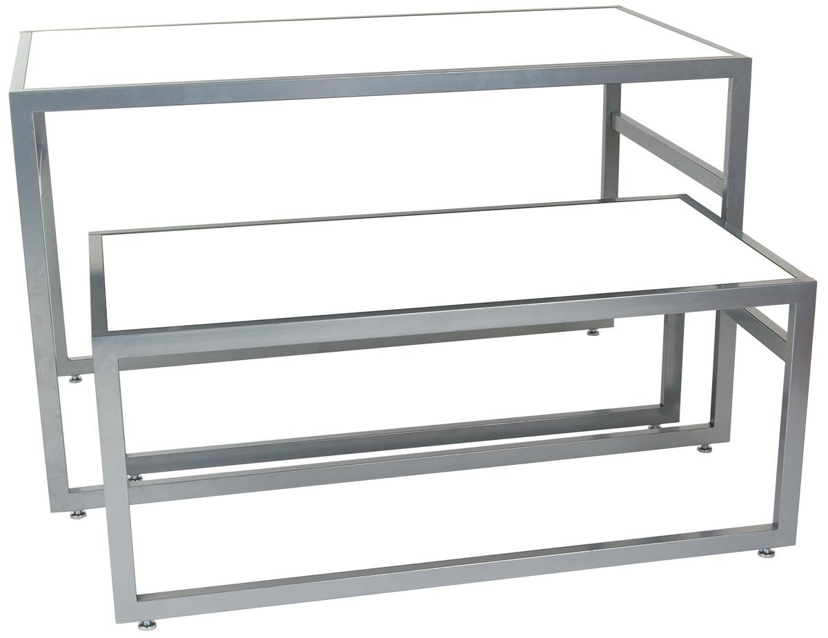Displays2go 2 Piece Set Of Rectangular Nesting Tables Modern Lines Steel Frame With Mdf Counter