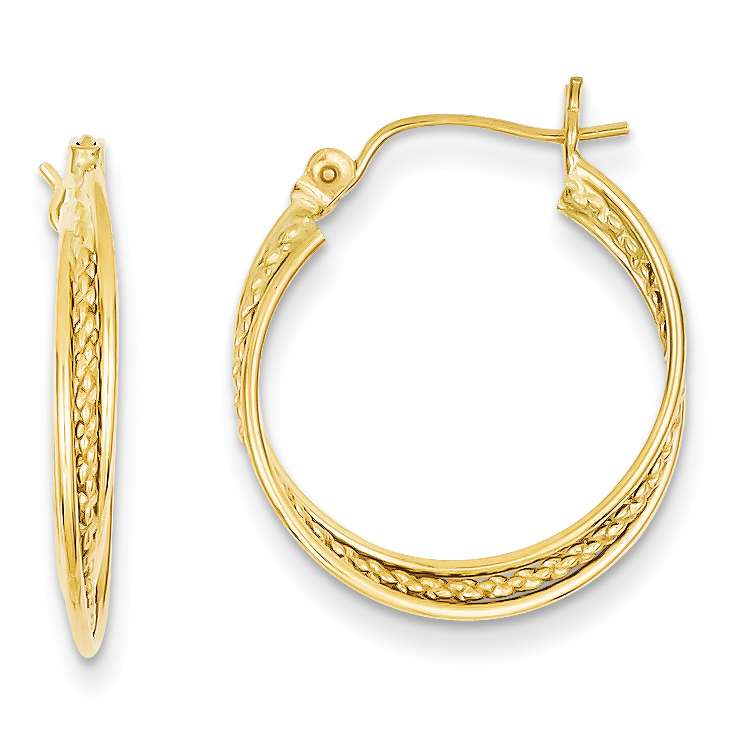 14k Polished and Textured Circle Hoop Earrings