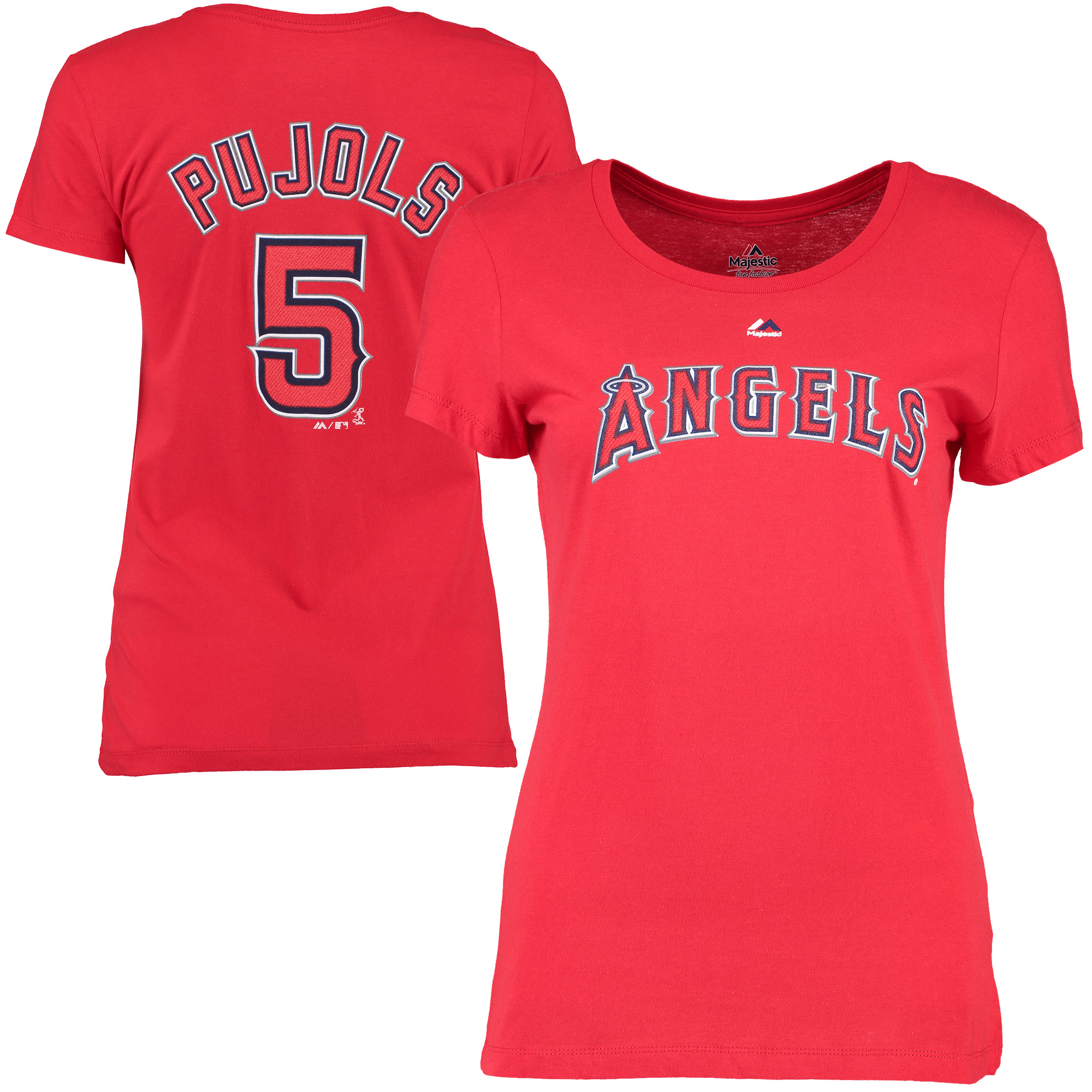Albert Pujols Los Angeles Angels Majestic Women's Name & Number T-Shirt - Red