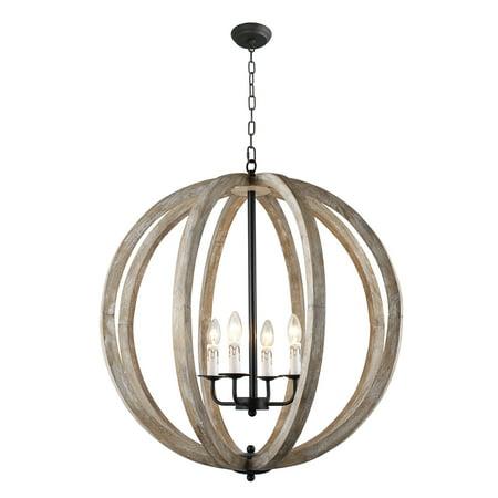 Capoli 4 Light Wooden Orb Chandelier