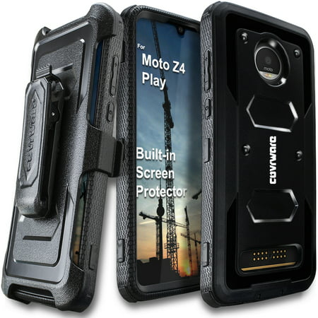 Moto Z4 / Z4 Play Case COVRWARE Aegis Series Full Body Protection Case Armor Hard Cover with BUILT-IN SCREEN PROTECTOR KICKSTAND Black
