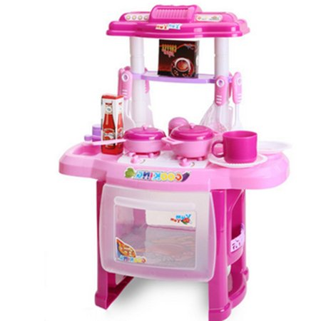 Children Kitchen Pretend Playing Toys Cooking Play Sets With Musical Lights  Baby Kids Home Educational Toy - Pink