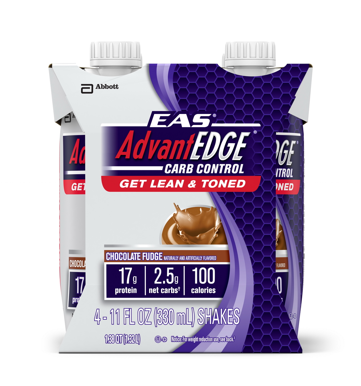 EAS AdvantEDGE Carb Control Ready-to-Drink Shake, Chocolate Fudge, 11 fl oz (Pack of 4)