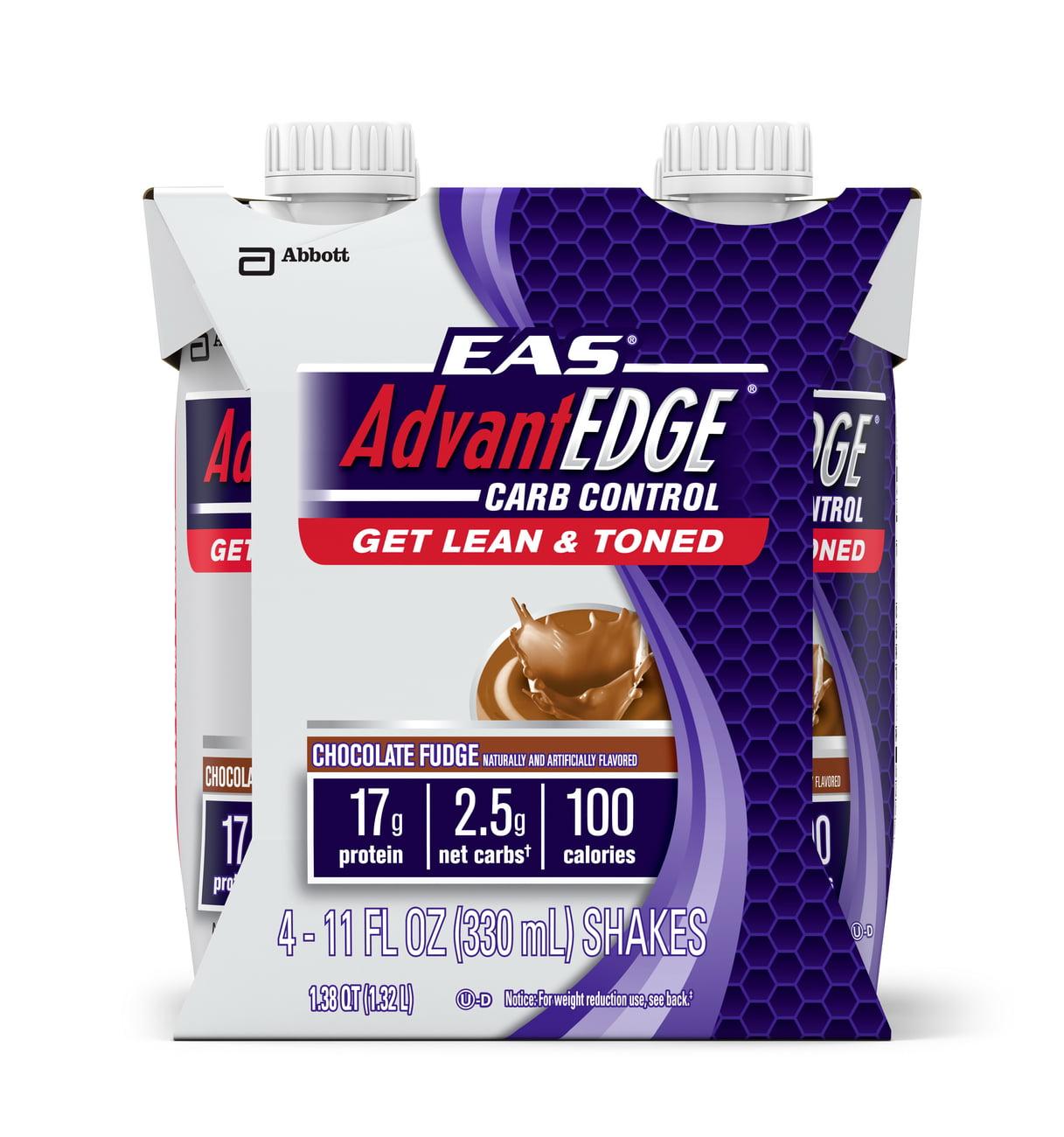 EAS AdvantEDGE Carb Control Ready-to-Drink Shake, Chocolate Fudge, 11 fl oz (Pack of 4)