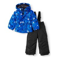 Iceburg Toddler Boy Insulated Winter Jacket Coat & Snow Pants Bib, 2pc Snowsuit Set