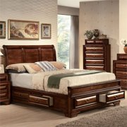 ACME Konane Queen Bed with Storage in Brown Cherry, Multiple Sizes