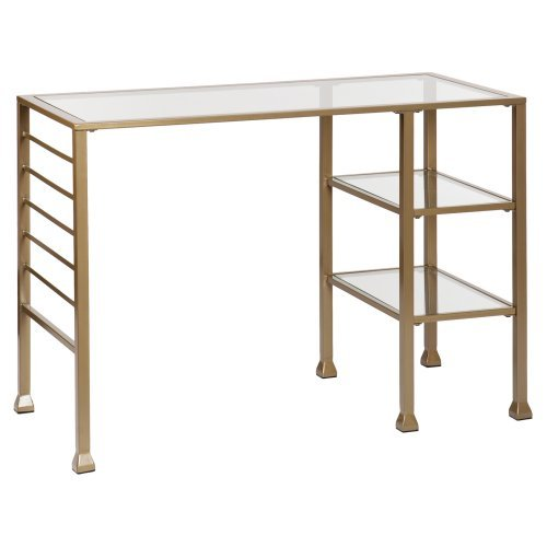 Southern Enterprises Metal and Glass Writing Desk