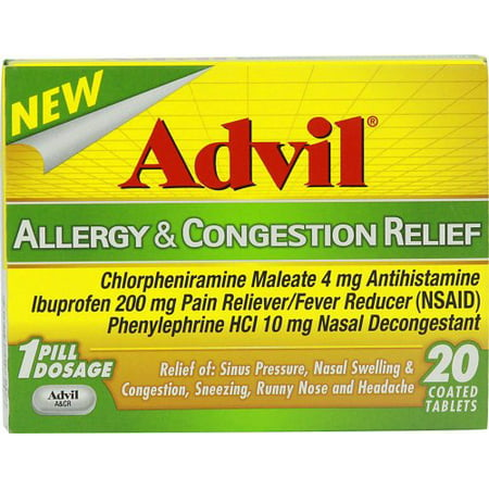 3 Pack Advil Allergy & Congestion Relief 20 Coated Tablets (Best Way To Relieve Congestion)