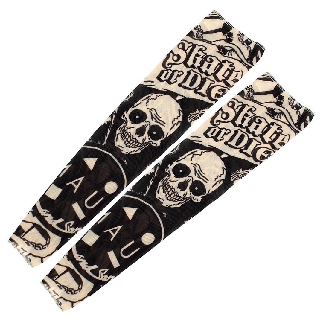 2 Pcs Skull Pattern Stretchy Christmas Stocking Fake Tattoo Arm Sleeve - image 1 de 1