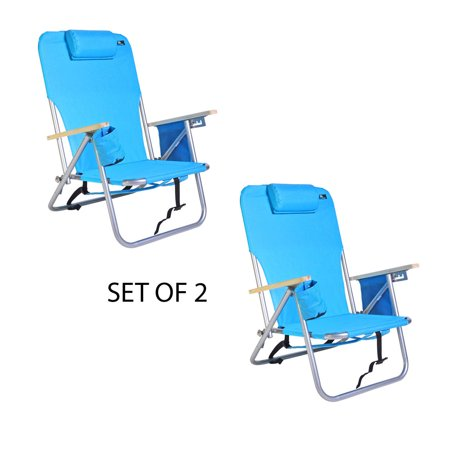 Image of Deluxe 4 position Steel Backpack Chair w Drink Holder & Storage Pouch - Set of 2