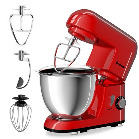 Costway Electric Food Stand Mixer 6 Speed 4.3Qt 550W Tilt-Head Stainless Steel