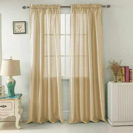 Nikki Faux Silk 54 x 84 in. Rod Pocket Single Curtain Panel in Beige (Beige Faux Paneling)
