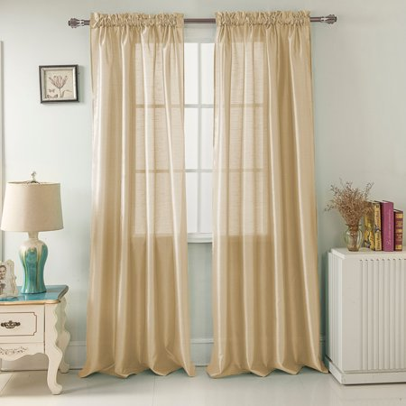 Nikki Faux Silk 54 x 84 in. Rod Pocket Single Curtain Panel in Beige