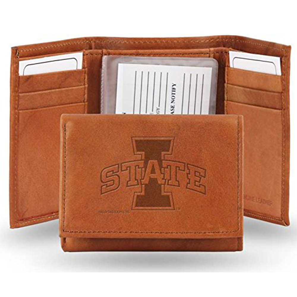 Iowa State Embossed Leather Trifold Wallet (Manmade Interior)