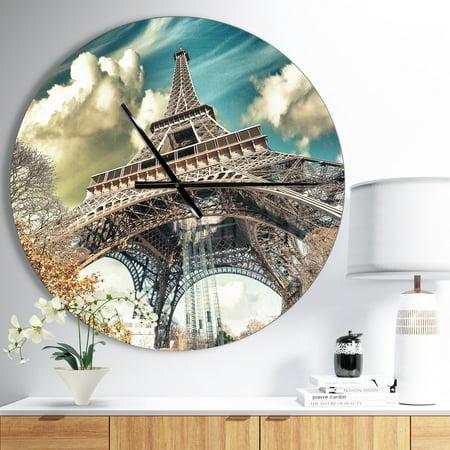 DESIGN ART Designart 'Street View of Paris Eiffel Tower' Oversized French Country Wall CLock