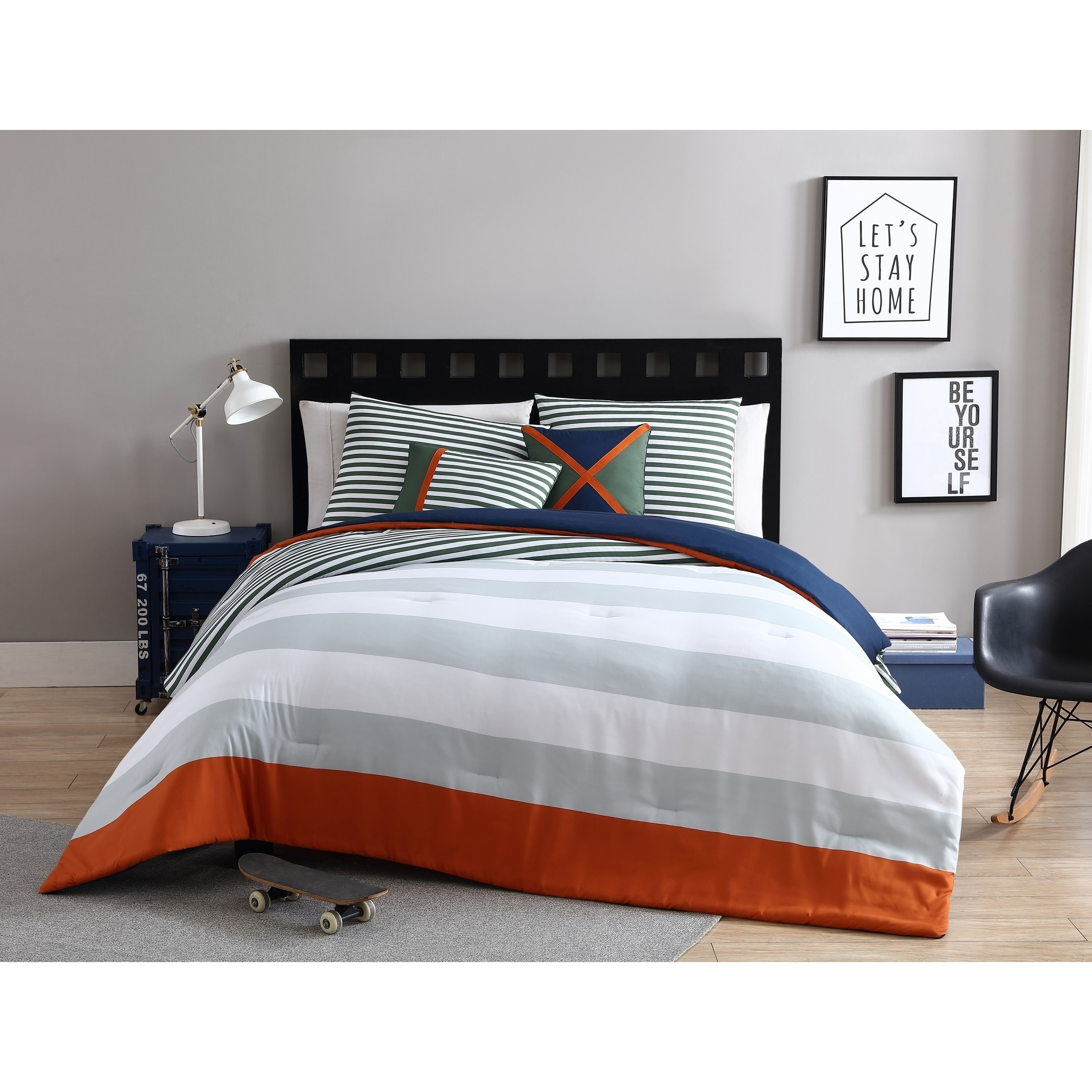 VCNY Home Orange/Green Boy Collegiate Stripe 4/5-Piece Comforter Bedding Set, Shams and Decorative Pillows Included