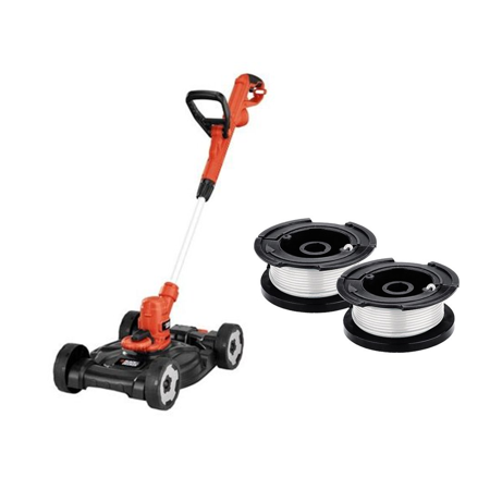 "BLACK + DECKER MTE912 3-N-1 6.5 Amp String Trimmer, Edger & 12"" Mower with free 2-Pack Auto Feed Replacement Spools"