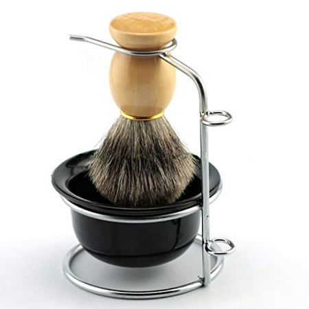 Eshave Razor And Brush Stand - Yosoo Stainless Steel Shaving Brush Stand Razor Holder and Black Shaving Bowl,Shaving Brush Stand,Razor Holder