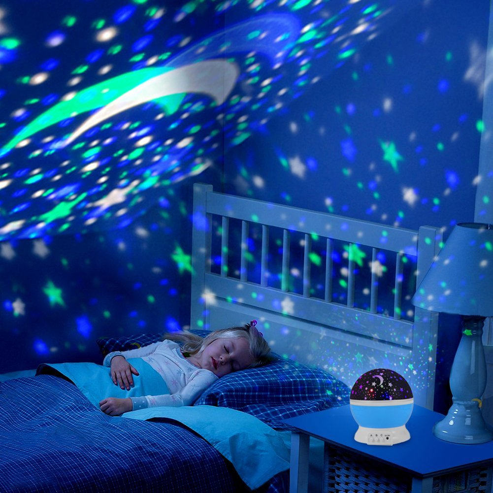 Baby Night Light Lamp Moon Star light Projector 360 Degree Rotation Romantic Rotating Cosmos lamp (Blue)