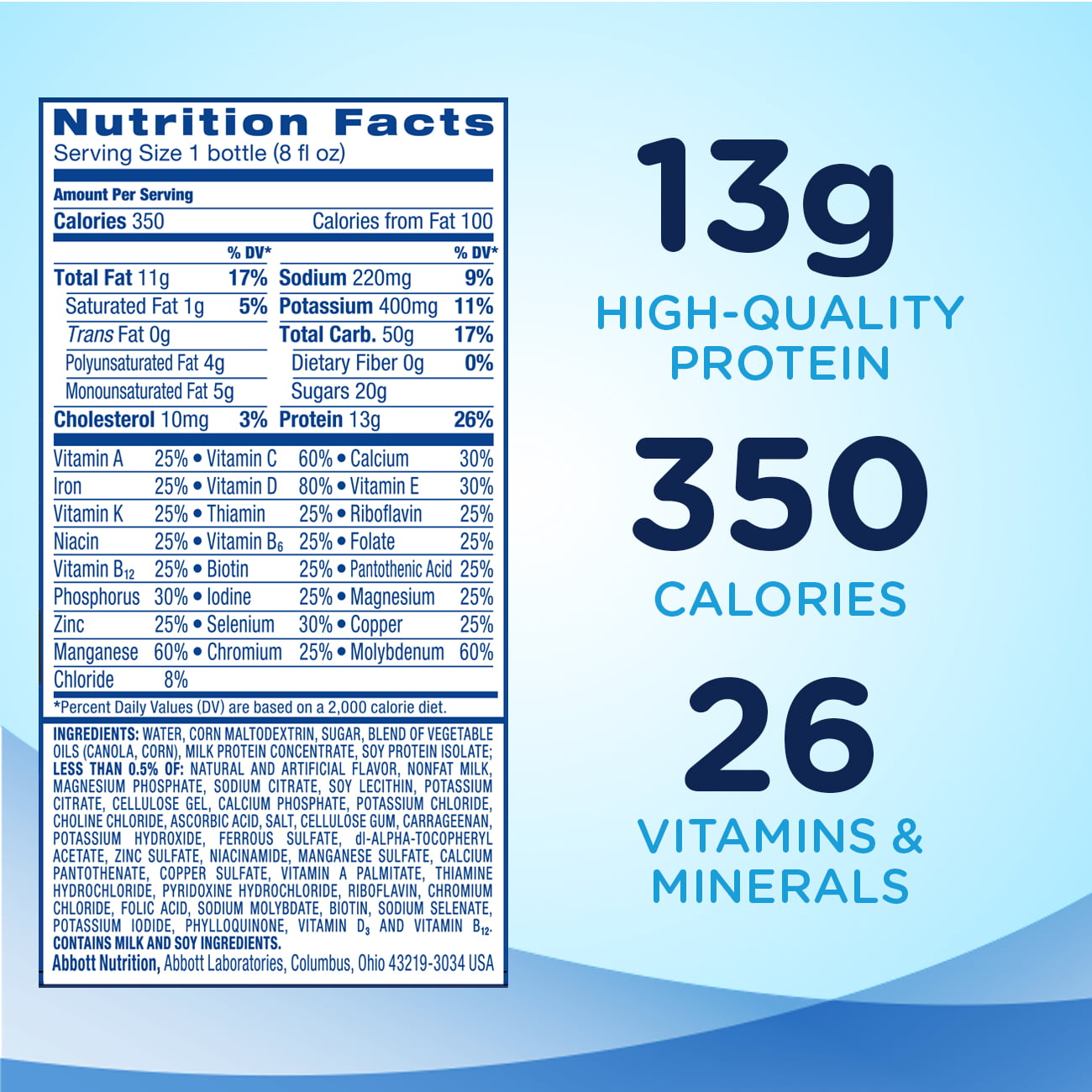 Ensure Plus Nutrition Shake with 13 grams of high-quality protein ...