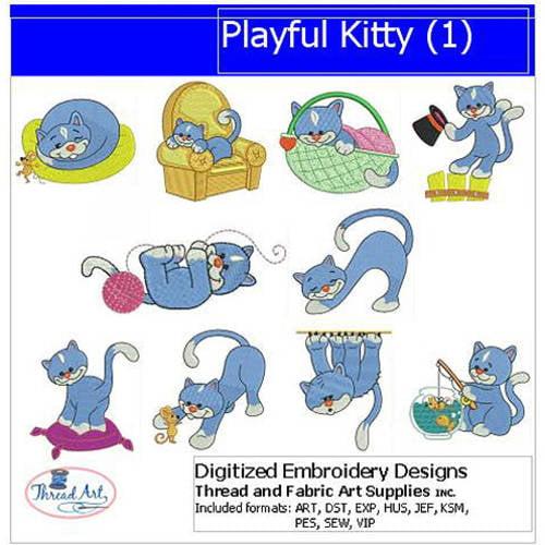 Threadart Machine Embroidery Designs Playful Kitty(1) CD
