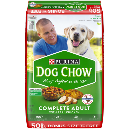Purina Dog Chow Dry Dog Food, Complete Adult With Real Chicken - 50 lb. (Best Real Food For Dogs)