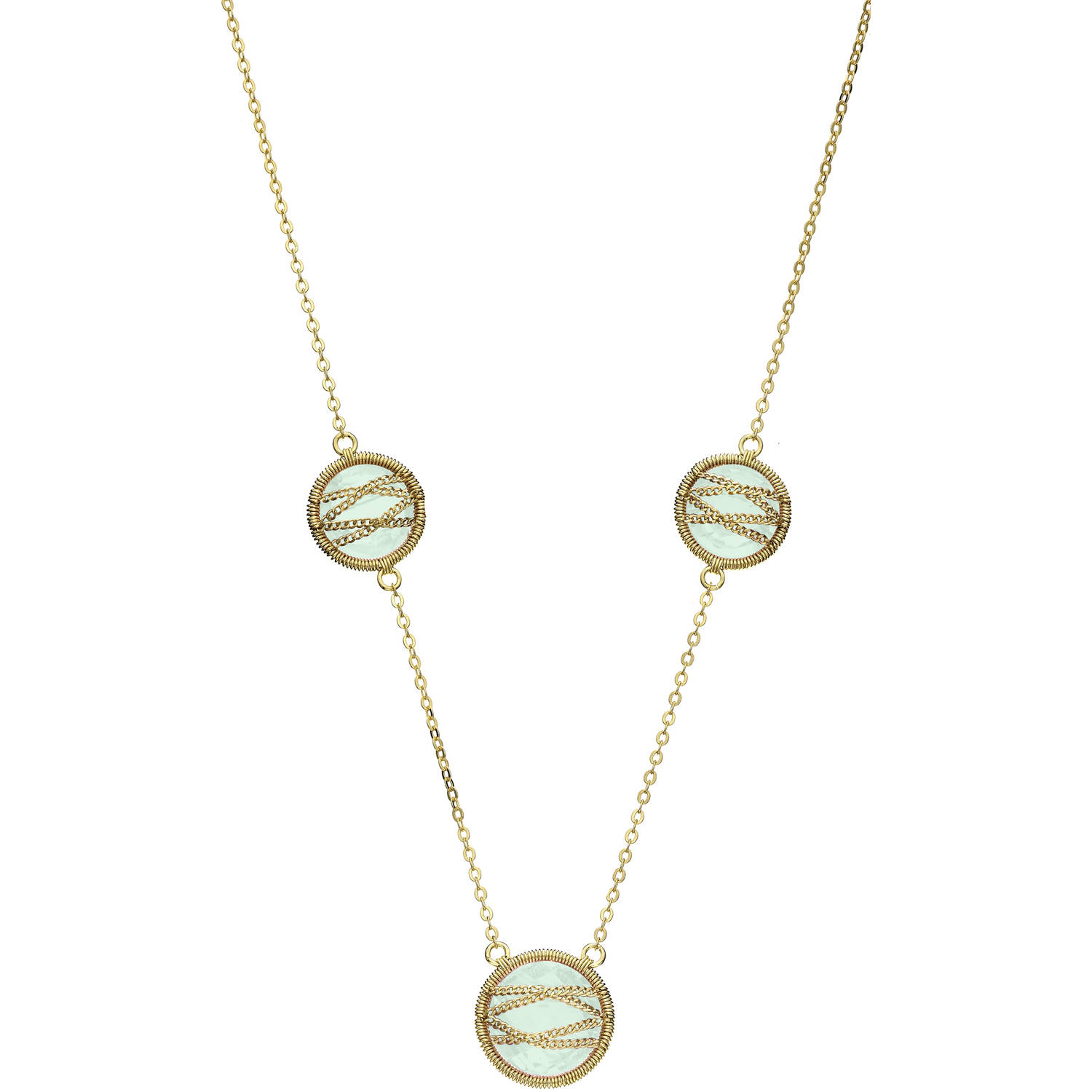 5th & Main 18kt Gold over Sterling Silver Hand-Wrapped Triple Round Chalcedony Stone Necklace by Generic