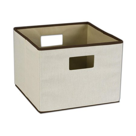 Household Essentials Storage Bin with Handles, Natural Canvas with Brown Trim