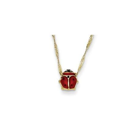 - 14k Yellow Gold Enameled Ladybug Necklace - .9 Grams - Spring Ring
