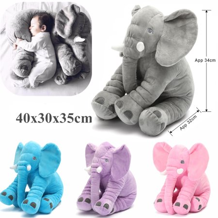 Grtsunsea Stuffed Animal Doll Baby Sleeping Soft Cushion Pillow Cute Elephant Plush Toy for Toddler Infant Kids -