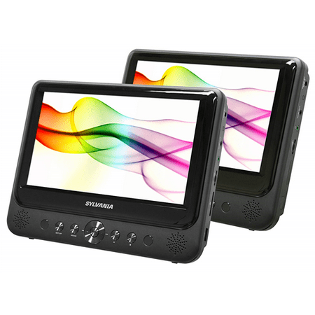 "Sylvania SDVD9805 9"" Dual-Screen Portable DVD Player 16:9 USB SD Card Compatible - Refurbished"