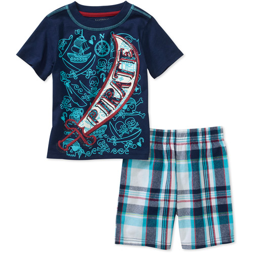 Healthex Baby Boys' 2 Piece Graphic Tee and Plaid Short Set