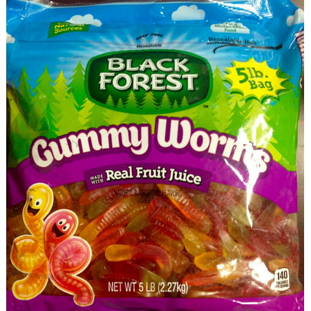 6 PACKS : Black Forest Gummy Worms - 5lb Resealable Bag Black Forest Gummy Worms