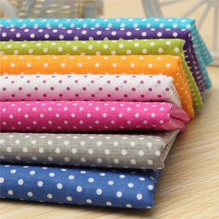 7Pcs/set Cotton Fabric Sewing Quilting Craft Patchwork Textile Square Cut DIY Craft Sewing Handmade Accessory Wave Dot Point Cotton Fabric Patchwork Cloths