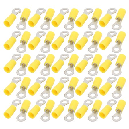 50 Pcs RV5.5-5 Pre Insulated Ring Crimp Terminals Yellow for AWG 12-10 Wire - image 3 of 3