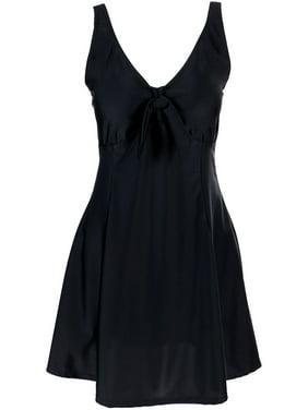 Women's Lovely Plus Size One Piece Swimdress Swimsuit Swimwear, Black, XL