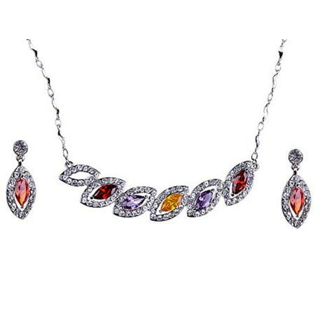 Swarovski Necklace Earring - Multi Color Tear Drops Leaves Swarovski Crystal Rhinestone Earring Necklace Set
