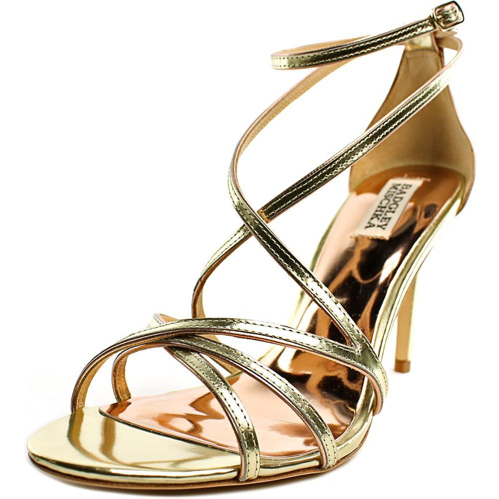 Badgley Mischka Lillian Open-Toe Leather Heels by Badgley Mischka